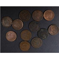 U.S. LARGE CENTS: 1816, 1851, 1840, 1841,