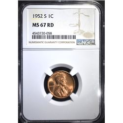 1952-S LINCOLN CENT, NGC MS-67 RED