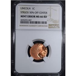 LINCOLN CENT MINT ERROR, NGC MS-66 RED