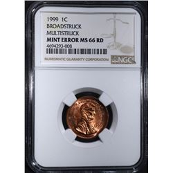 1999 LINCOLN CENT MINT ERROR, NGC MS-66 RED