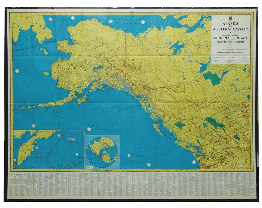 West Of Canada Map.Vintage Alaska And West Canada Map