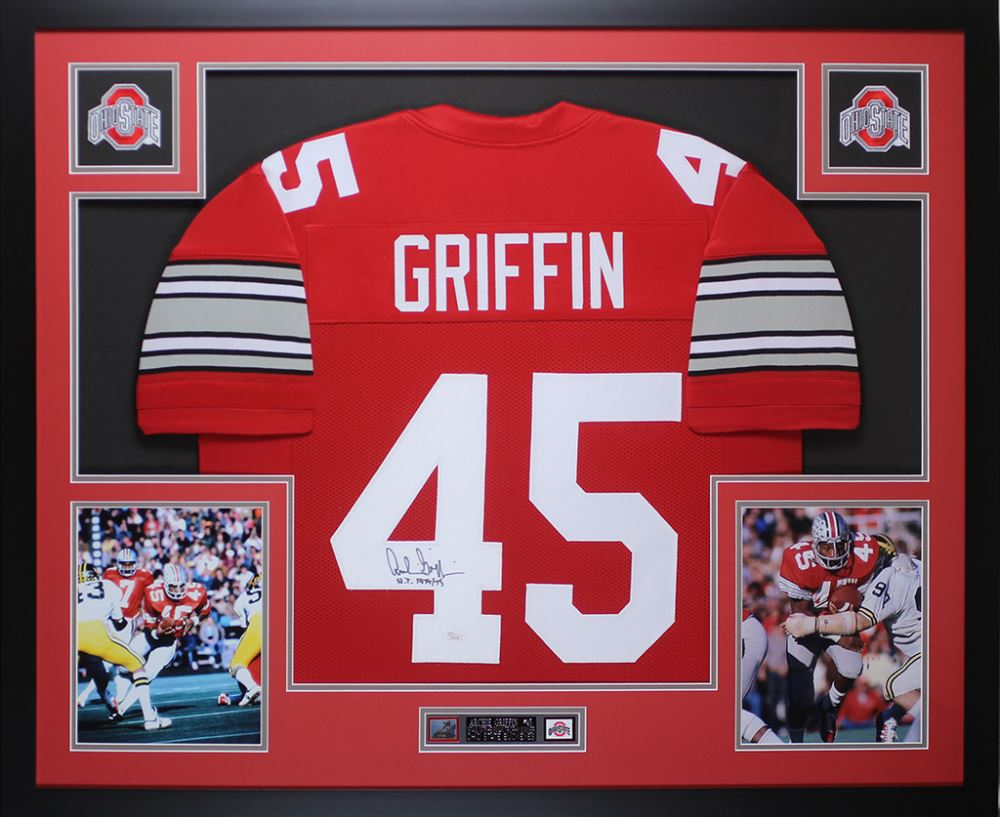 1359c9783ee Image 1 : Archie Griffin Signed Ohio State Buckeyes 35x43 Custom Framed  Jersey Inscribed