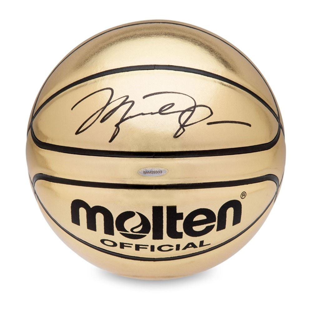 bf5dd287183 Image 1   Michael Jordan Signed Molten Gold Trophy Basketball (UDA COA)