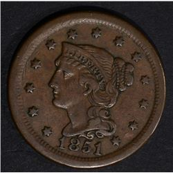 1851 LARGE CENT, XF N-1 R-4 SCARCE