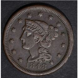 1848 LARGE CENT, XF N-25 R-4+ SCARCE