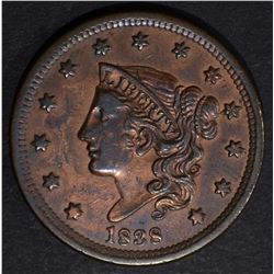 1838 LARGE CENT, AU cleaned