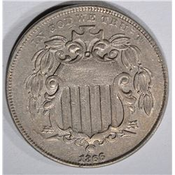 1866 WITH RAYS SHIELD NICKEL, XF+