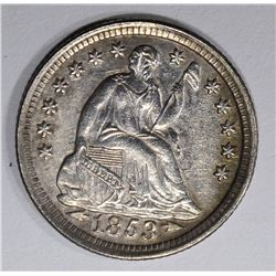 1853 WITH ARROWS SEATED HALF DIME, AU