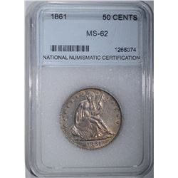 1861 SEATED HALF DOLLAR, NNC CH BU
