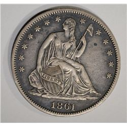 1861 SEATED HALF DOLLAR  AU