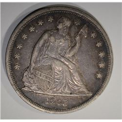 1843 SEATED DOLLAR  AU