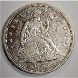 1847 SEATED DOLLAR  AU/BU