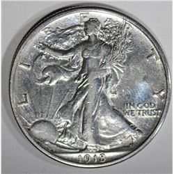1918 WALKING LIBERTY HALF AU CLEANED