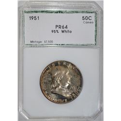 1951 FRANKLIN HALF DOLLAR, PCI CH/GEM PROOF CAMEO