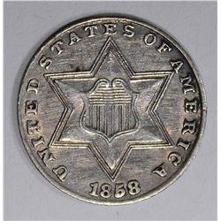1858 THREE CENT SILVER  BU