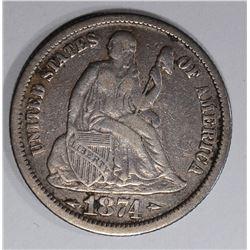 1874 SEATED LIBERTY DIME  XF