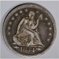 1854-O SEATED LIBERTY QUARTER  XF