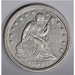 1857 SEATED LIBERTY QUARTER  AU