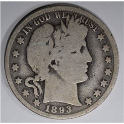 1893-O BARBER HALF DOLLAR  VG