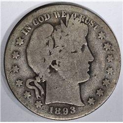 1893-S BARBER HALF DOLLAR  GOOD