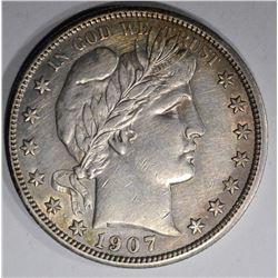 1907 BARBER HALF DOLLAR  AU