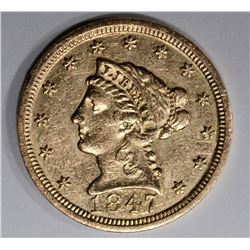 1847 $2 1/2 GOLD LIBERTY HEAD  CH AU