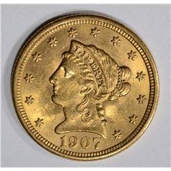 1907 $2 1/2 GOLD LIBERTY HEAD  CH BU+