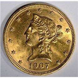 1907 $10 GOLD LIBERTY HEAD  CH BU