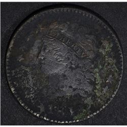 1811 HALF CENT, VG/F corroded KEY DATE