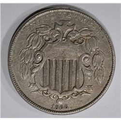 1866 WITH RAYS SHIELD NICKEL, XF