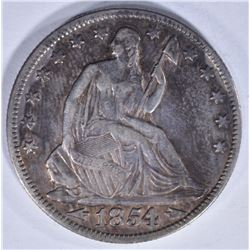 1854 SEATED HALF DOLLAR WITH ARROWS XF