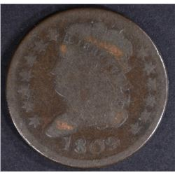 1809 HALF CENT,  VG ROTATED DIE