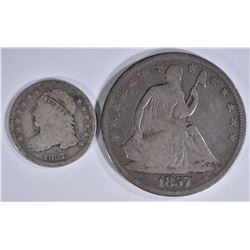 1837 CAPPED BUST DIME, 1857 SEATED