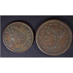 1835 HALF CENT, VF & 1856 LARGE CENT, VF+