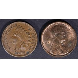 1907 INDIAN CENT, AU/BU & 1909 VDB LINCOLN CENT CH