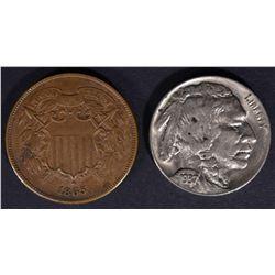 1865 2-CENT XF & 1937-D BUFFALO NICKEL, CH BU