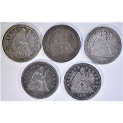 5-SEATED LIBERTY QUARTERS VF/XF: