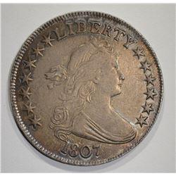 1807 DRAPED BUST HALF DOLLAR  AU+