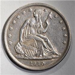 1840 SEATED LIBERTY HALF AU