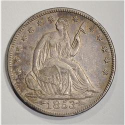 1853 ARROWS & RAYS SEATED HALF DOLLAR  AU