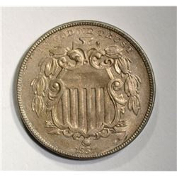 1867 RAYS SHIELD NICKEL  CH BU