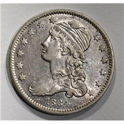 1834 CAPPED BUST QUARTER  AU++