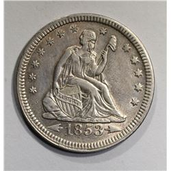 1853 ARROWS & RAYS SEATED QUARTER  AU+