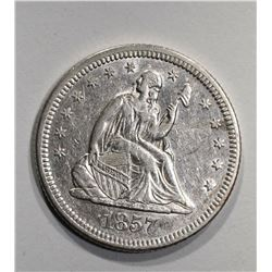 1857-O SEATED QUARTER  AU