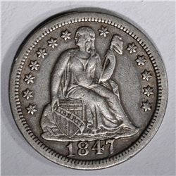 1847 SEATED DIME, XF