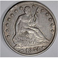 1854 WITH ARROWS SEATED HALF DOLLAR, XF/AU
