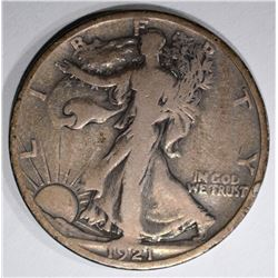 1921-S WALKING LIBERTY HALF DOLLAR, VG