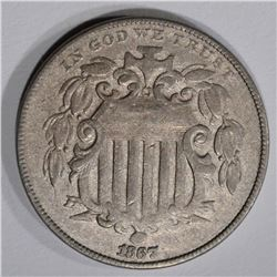 1867 SHIELD NICKEL, XF