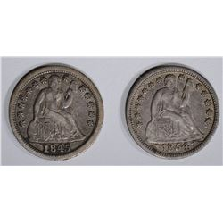 1845 & 1854 WITH ARROWS SEATED DIMES, XF+