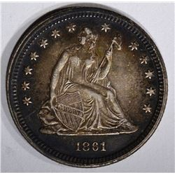 1861 SEATED QUARTER, AU